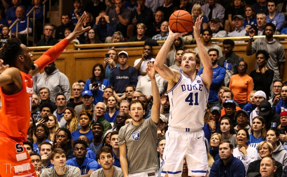 <p>Jack White, normally one of Duke's go-to spot up shooters, failed to make a single field goal all evening.</p>