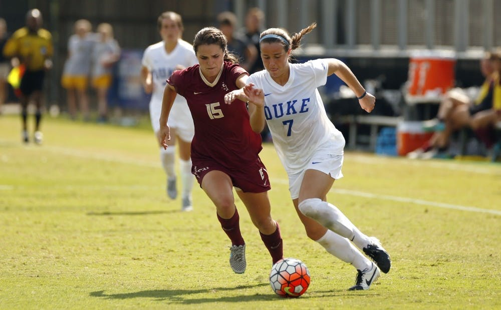 <p>Freshman Taylor Racioppi fired a team-leading eight shots against Louisville Sunday, but none of her attempts found the back of the net as Duke finished with a scoreless draw against the Cardinals.</p>