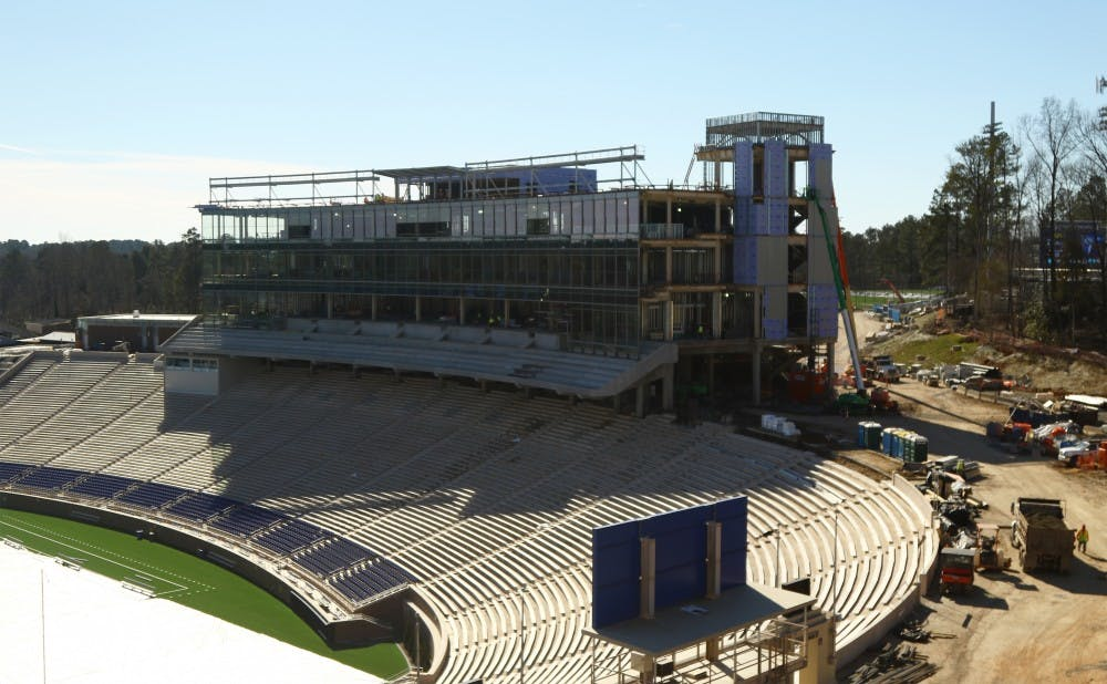 <p>Blue Devil Tower will open for Duke's home opener Sept. 3 against N.C. Central, the centerpiece of a massive renovation project at Wallace Wade Stadium.</p>