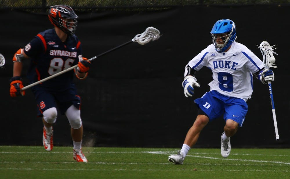 <p>Senior Case Matheis has recorded 20 goals and 21 assists this season for the Blue Devils, who face a crucial test Sunday at Virginia.&nbsp;</p>
