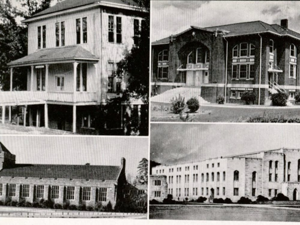 An evolution of the various homes of Duke basketball, beginning with The Ark (top left) and ending with Duke University Gymnasium (bottom right).