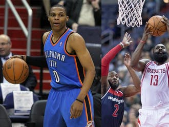 Thunder guard Russell Westbrook and Houston star James Harden are the two frontrunners for NBA MVP.