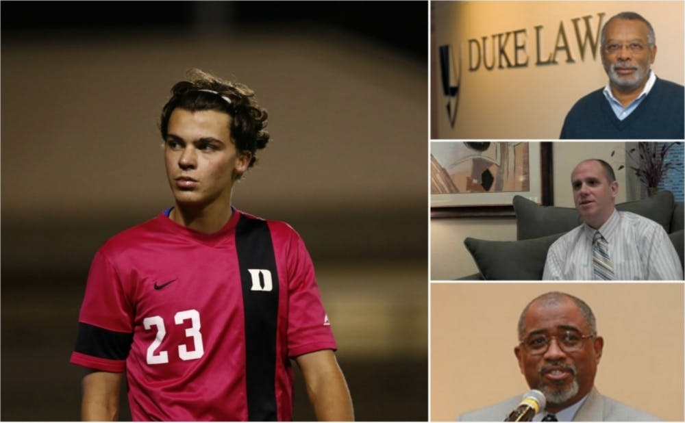 Junior men's soccer player Ciaran McKenna (left) is suing Duke and Dean of Student Conduct Stephen Bryan (middle right) for mishandling his sexual assault hearings. Judge Orlando Hudson (bottom right) presided over the hearings. James Coleman, John S. Bradway professor of the practice of law, (top right) advised McKenna during the process.