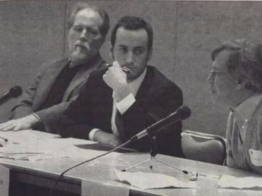 Stephen Miller, center, spoke at a 2007 Martin Luther King, Jr. Day panel on affirmative action, along with professor of political science Michael Gillespie, left, and Erwin Chemerisky, right, who was then a law professor at Duke.