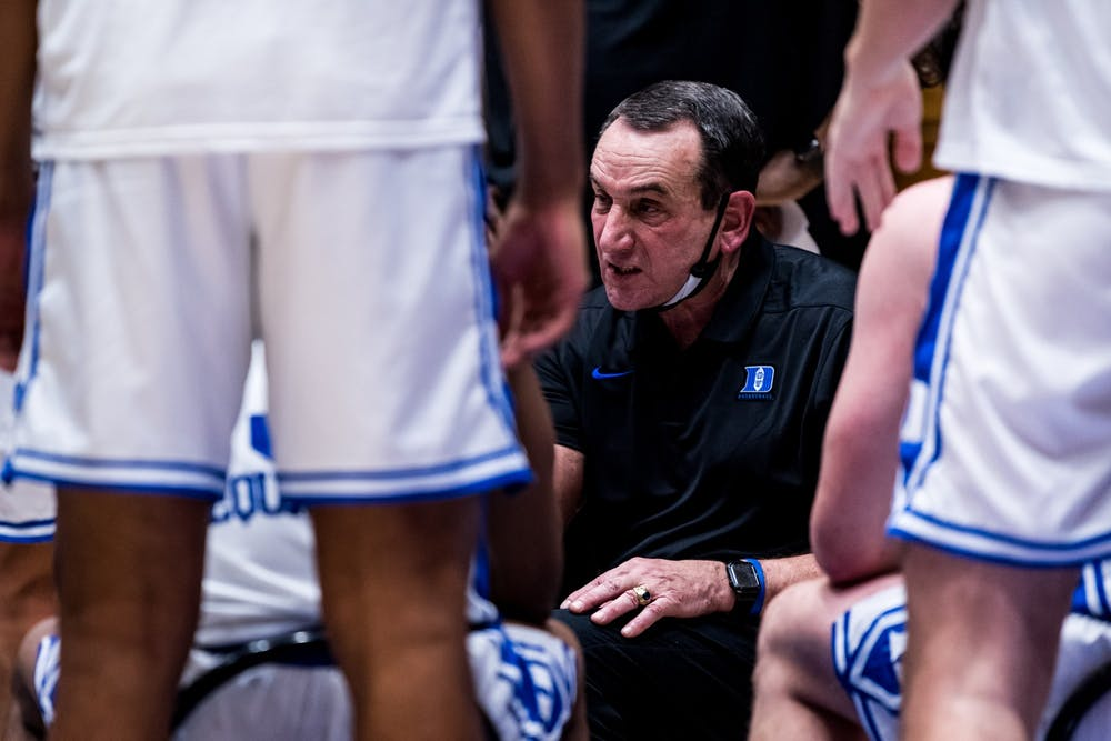"""Coach K said it was """"tough to explain"""" some of his team's turnovers Saturday."""