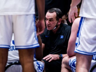 "Coach K said it was ""tough to explain"" some of his team's turnovers Saturday."
