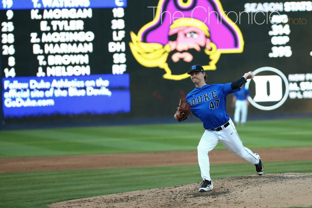 <p>Mitch Stallings is one of many relievers the Blue Devils will need to last for several innings in games starting this weekend.&nbsp;</p>