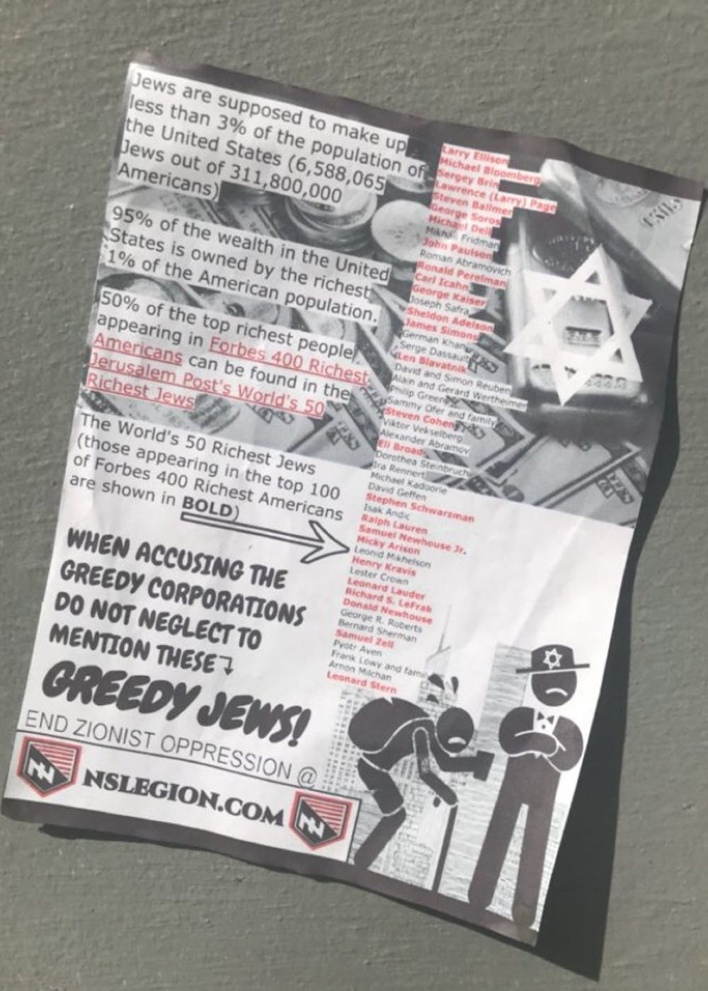 This poster was taped to the East Campus Wall.