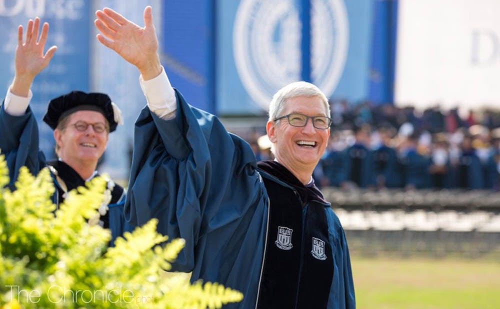 <p>Apple CEO Tim Cook, Fuqua '88, was Duke's commencement speaker in 2018.</p>