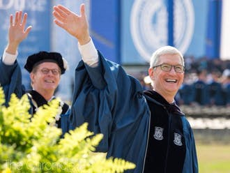 Apple CEO Tim Cook, Fuqua '88, was Duke's commencement speaker in 2018.