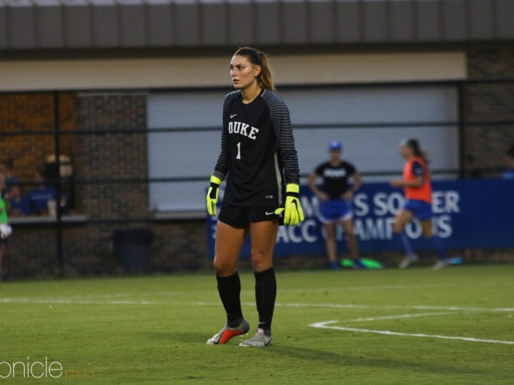 Brooke Heinsohn held down the fort in goal for Duke.