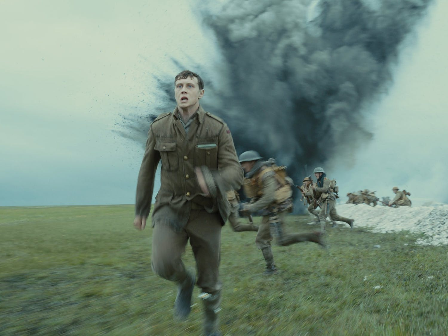"George MacKay as a World War I soldier on a mission in ""1917."""