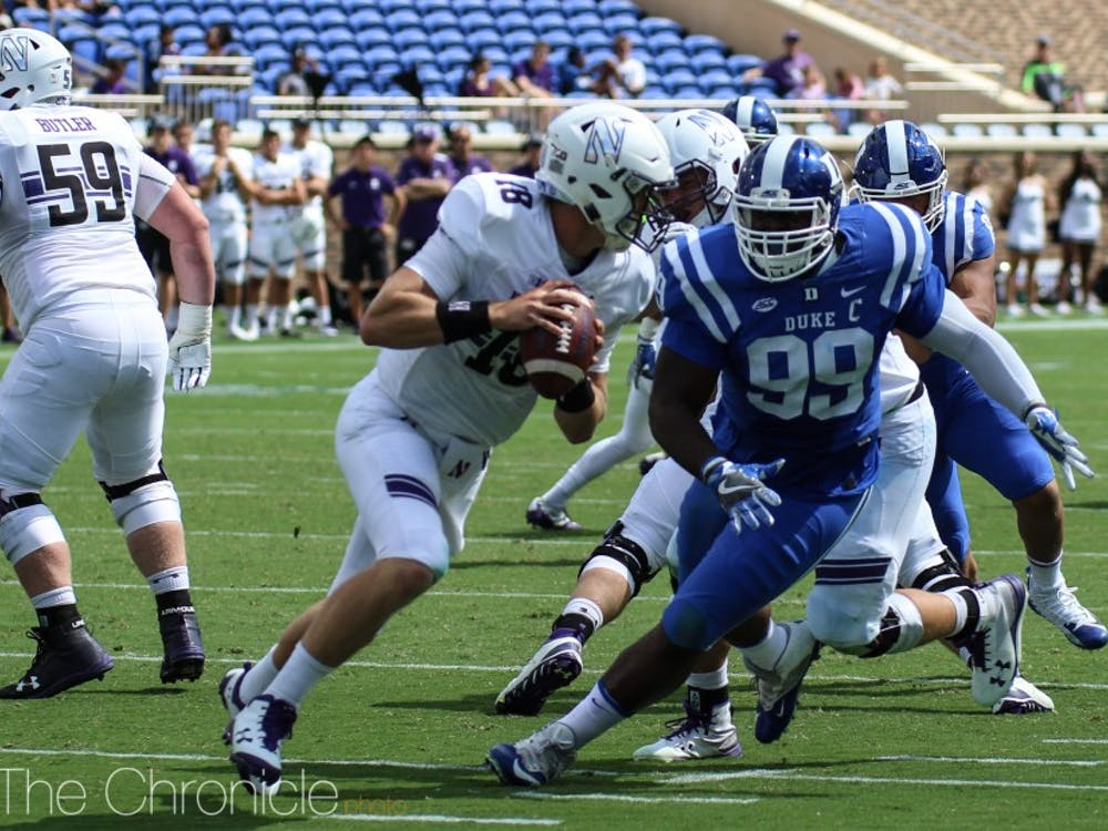 Daniel Jones became just the second player in program history to throw for more than 300 yards and run for more than 100 in the same game last year against Northwestern.