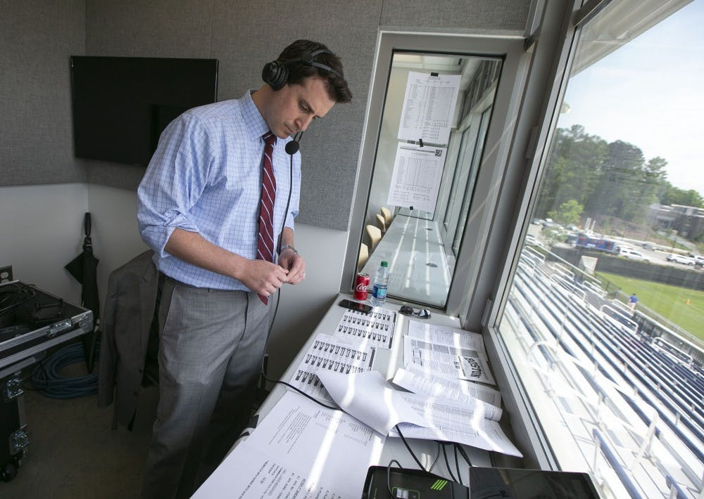 Ryan Craig serves as Duke's in-house host during football season, but also works play-by-play broadcasts for several other sports, including lacrosse.