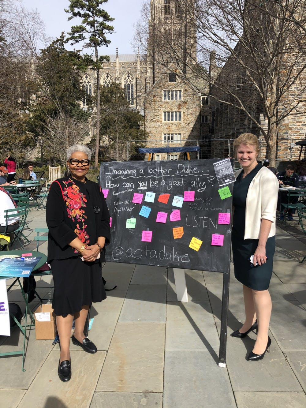Zoila Airall, associate vice president for student affairs for campus life, and Mary Pat McMahon.
