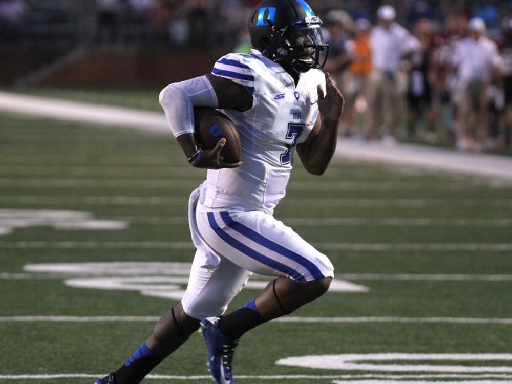 Redshirt senior quarterback Anthony Boone led the Blue Devils with 268 yards and a touchdown through the air and added 47 yards and a pair of scores on the ground.