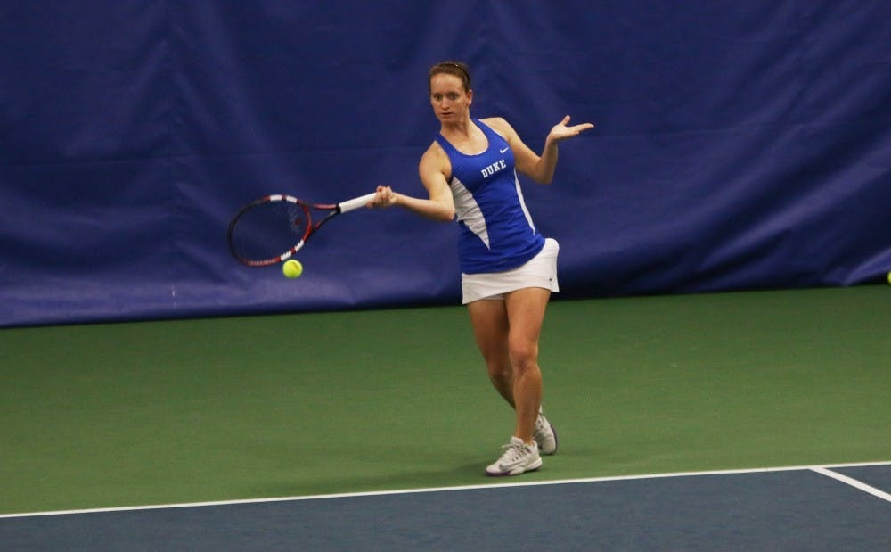 <p>Junior Chalena Scholl is one of three top-100 singles players for the Blue Devils, who open NCAA championship play May 13 at home.</p>