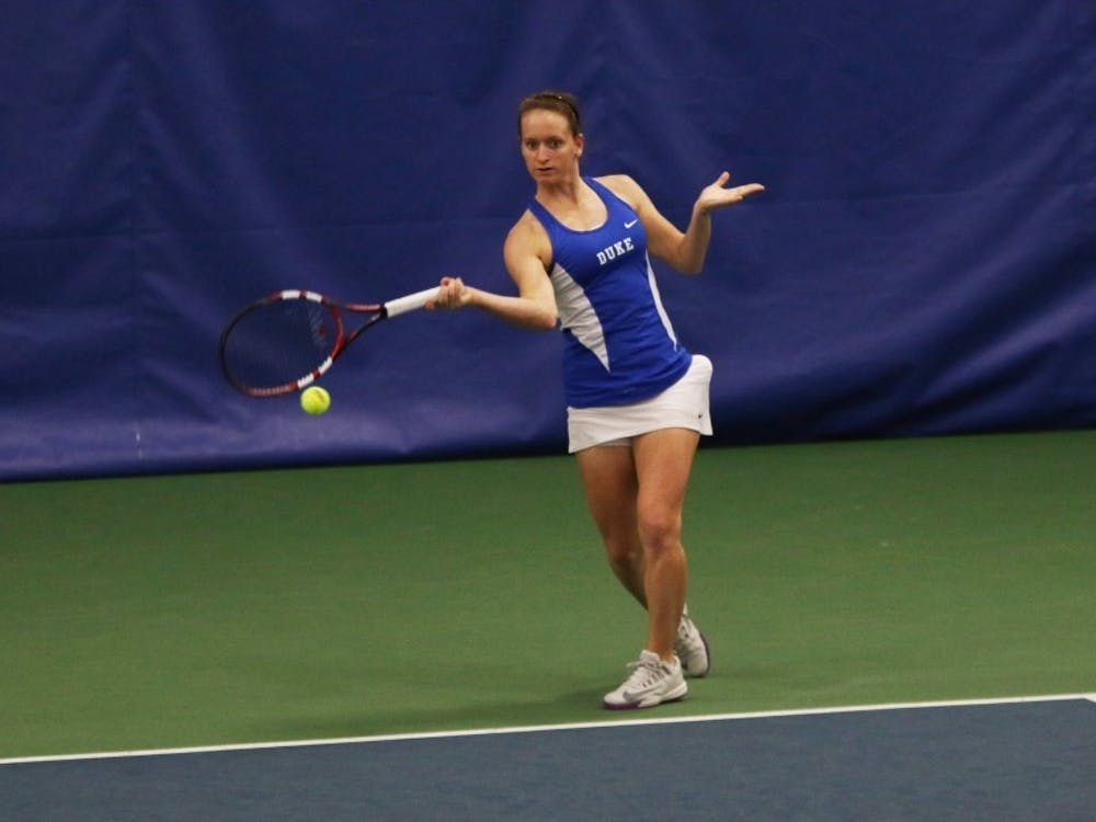 Junior Chalena Scholl is one of three top-100 singles players for the Blue Devils, who open NCAA championship play May 13 at home.