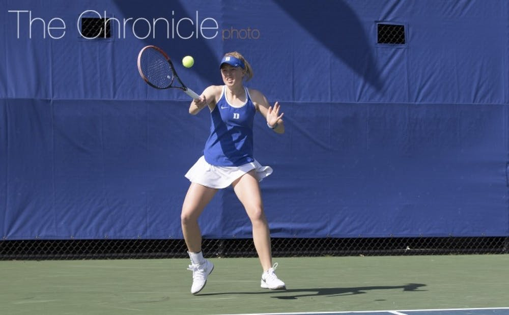 <p>Sophomore Kaitlyn McCarthy has not lost a match in singles in league action and will look to keep rolling this weekend.&nbsp;</p>