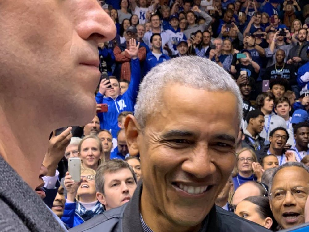 Barack Obama is in Cameron Indoor Stadium for the Duke-North Carolina game.