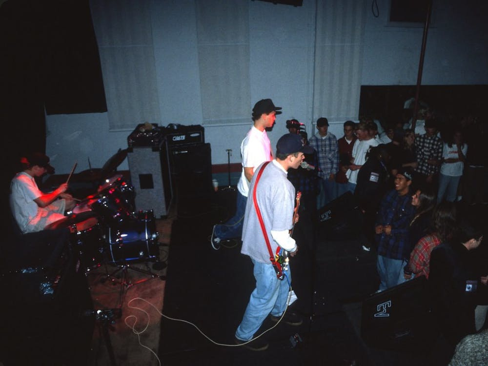Blink-182, pictured above, performing in the early 1990s at the Soul Kitchen in El Cajon.