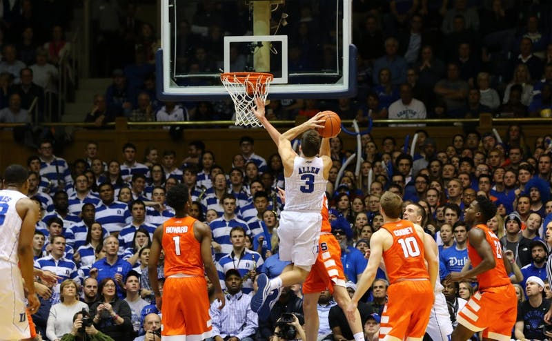 Grayson Allen came alive for nine straight points at the end of the first half, but his scoop shot with time winding down would not fall, and the Orange closed out the game at the free-throw line.