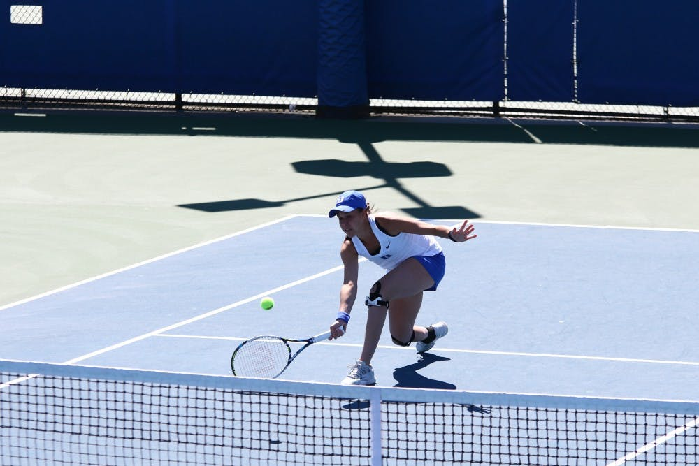 <p>Senior Beatrice Capra will look to grab a win at the No. 1 singles spot when the Blue Devils host Michigan Wednesday.</p>