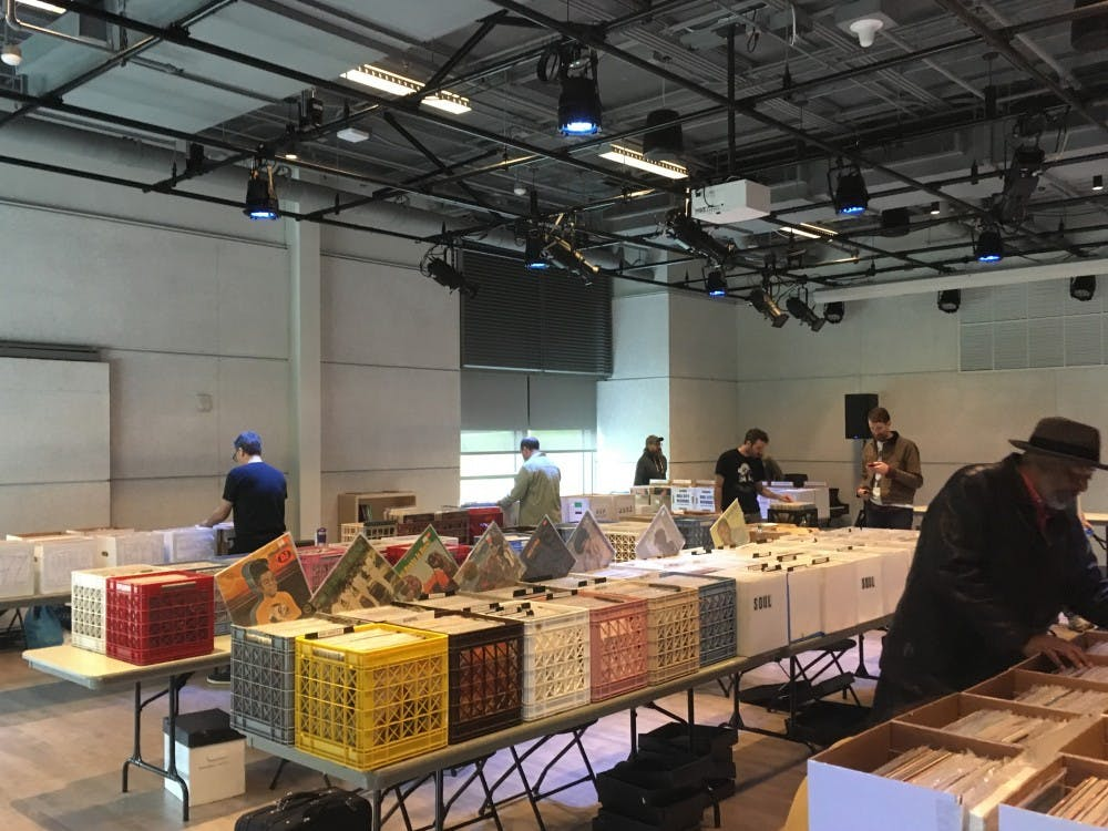 WXDU's series of record fairs has been running since 2005. Last year's Fall Record Fair, pictured, was the first held in the Rubenstein Arts Center.