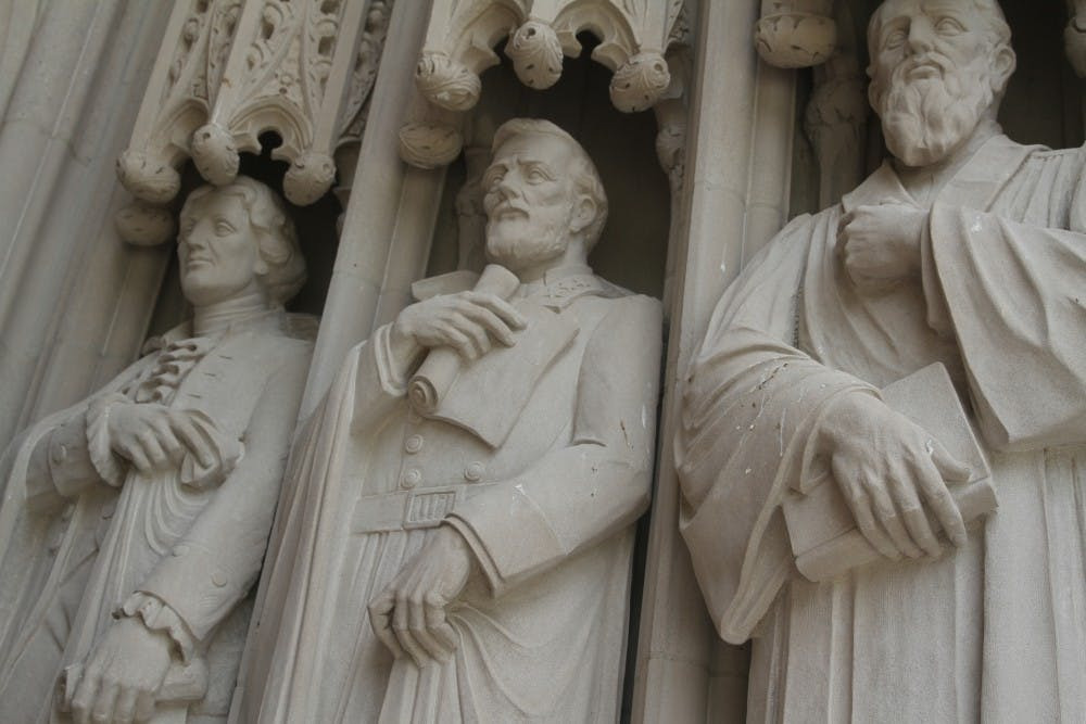 <p>A statue of Robert E. Lee outside Duke Chapel was removed early Saturday morning.&nbsp;</p>