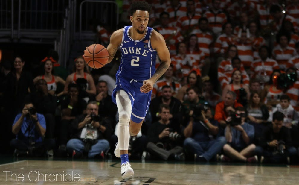 <p>Gary Trent Jr. has excelled in the Blue Devils' last two games, tying their freshman record with six made 3-pointers against both Wake Forest and Miami.</p>