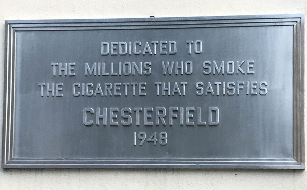 The plaque outside the Chesterfield Building,