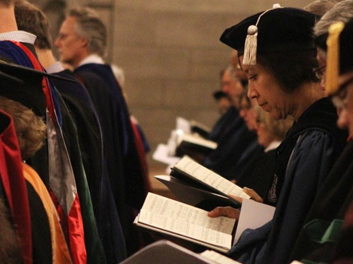 Members of the Duke faculty and administration sing the University's alma mater at the Founders' Day convocation that took place in the Duke Chapel Friday afternoon.