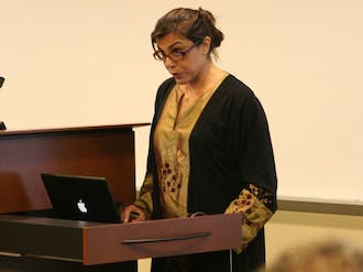 """Negar Mottahedeh, associate professor of literature, emphasizes the importance of social media in Iran during its post-election turmoil earlier this year. Mottahedeh spoke as a part of the """"Witnessing Iran"""" event Wednesday."""