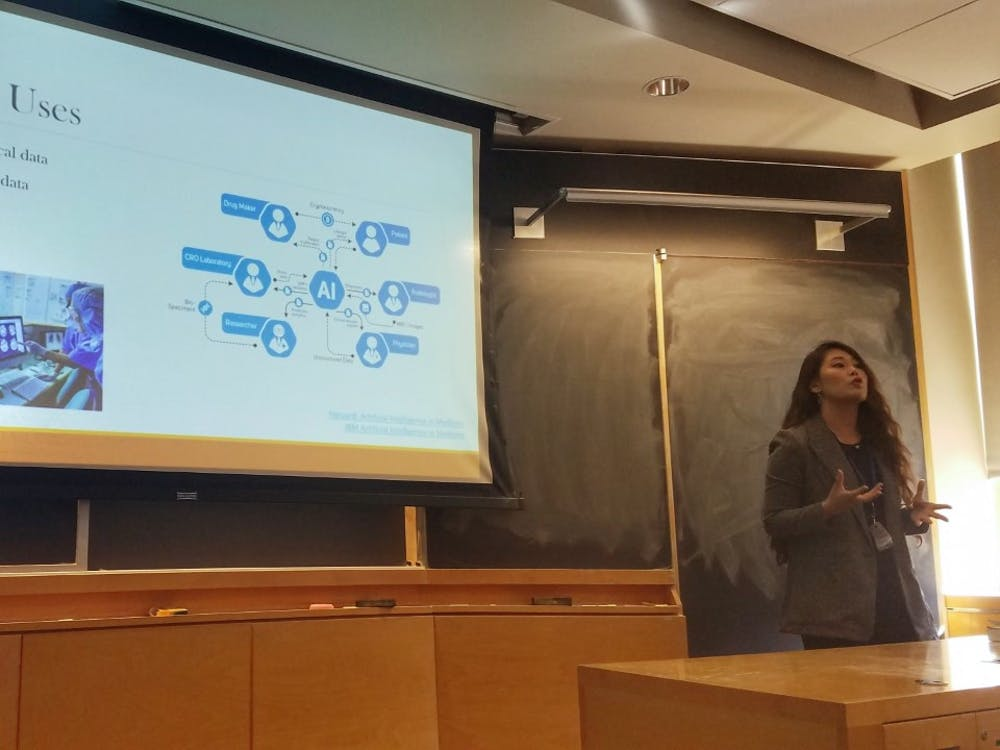 "<p>Joanne Kim presenting at ""Ethical Artificial Intelligence.""</p>"