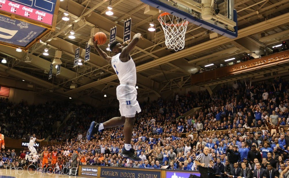 <p>The rims at the Brodie Recreation Center simply could not handle Williamson's ferocious dunks like the ones in Cameron Indoor Stadium.</p>