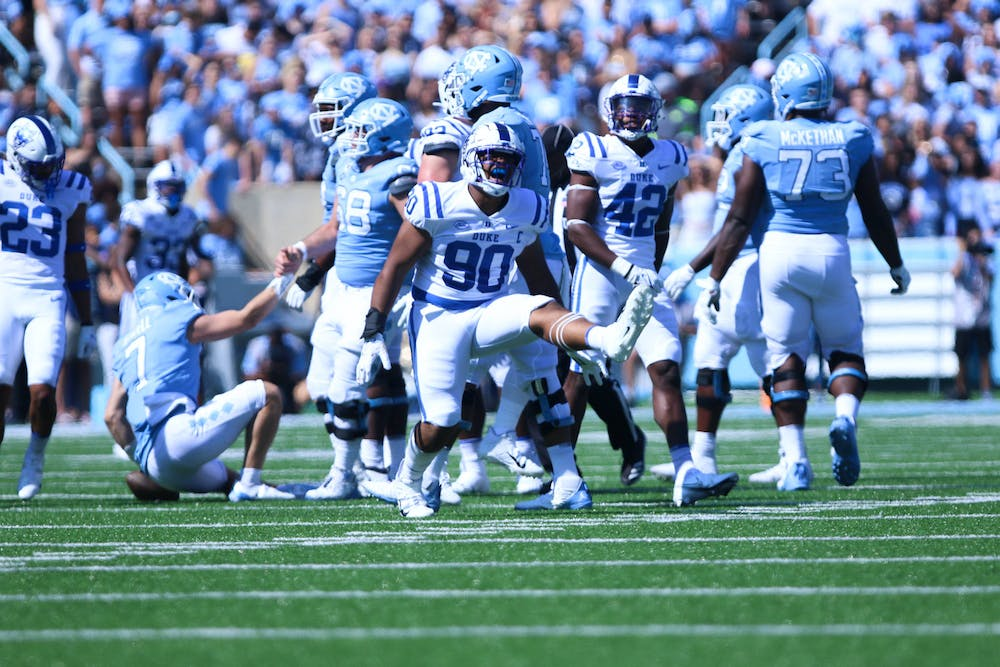 Despite DeWayne Carter and the Blue Devil defense recording five sacks, the North Carolina offense could not be kept in check for too long.