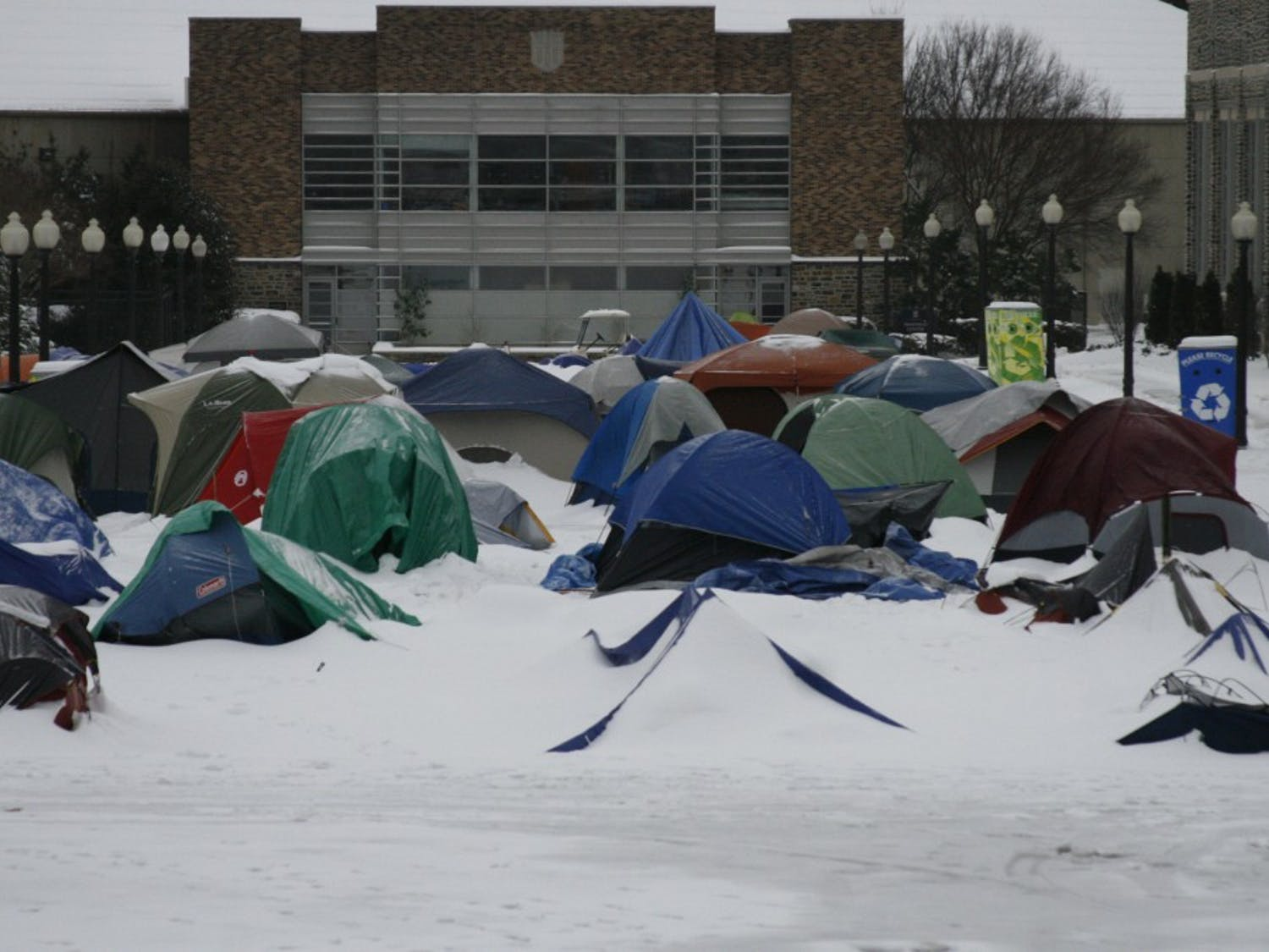 The newly pitched tents of the Cameron Crazies were buried in snow from the storm that hit Duke's campus on Saturday, January 30, 2010.