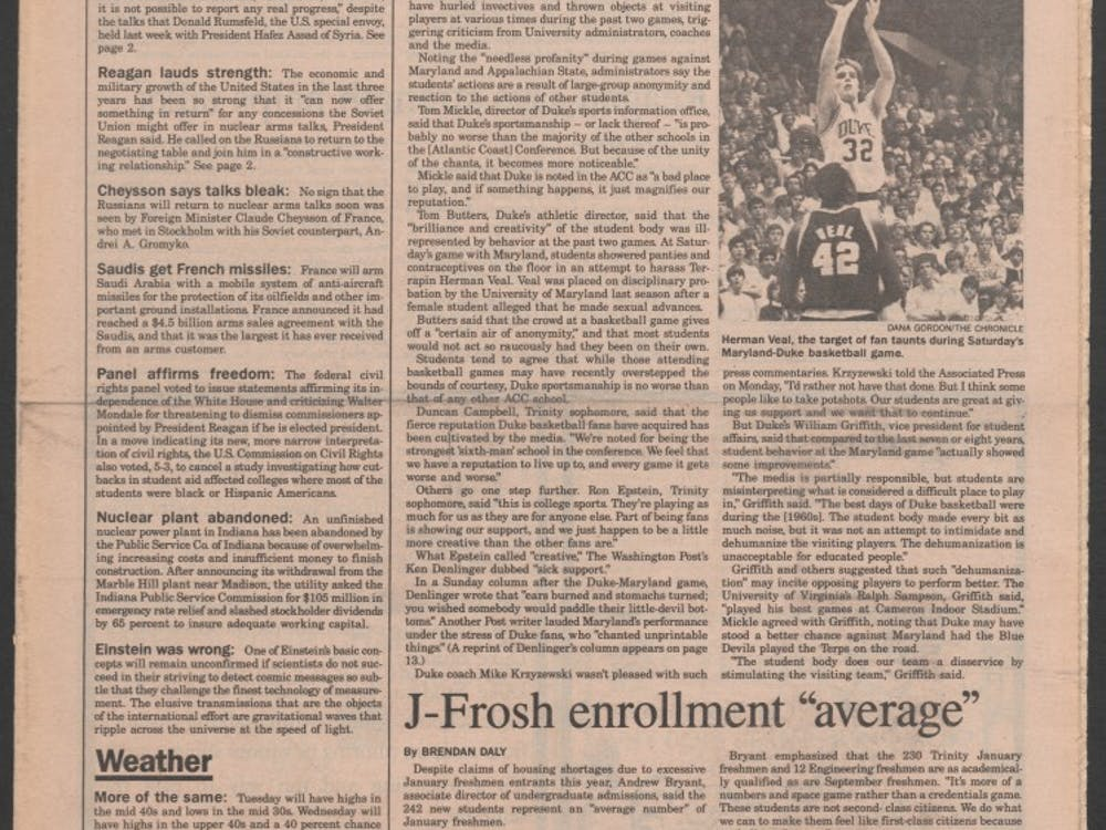The media did not take kindly to a particularly obscene taunt from the Cameron Crazies in 1984.