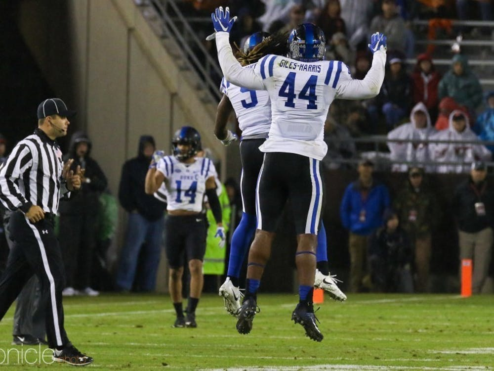 Captain Joe Giles-Harris and Duke's defense look to follow up their success in stopping Northwestern's rushing offense last year.