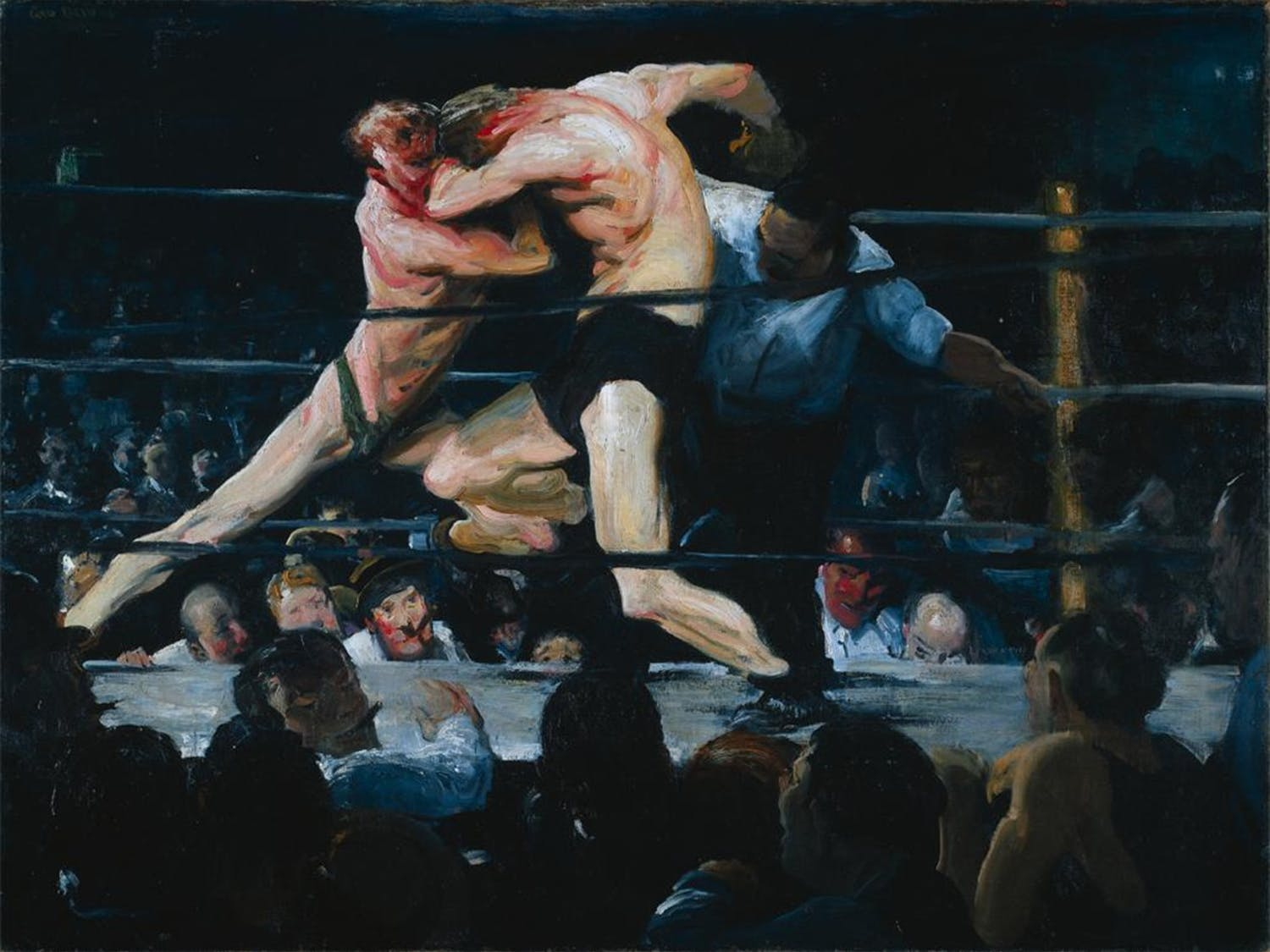 """""""Stag at Sharkey's"""" is a 1909 oil painting by George Wesley Bellows."""
