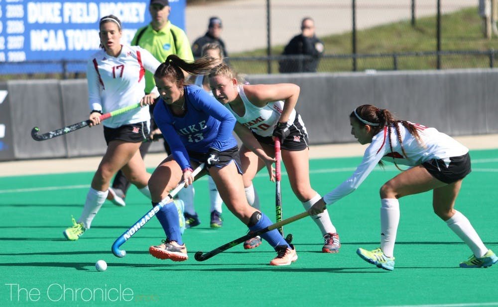 <p>Senior Rose Tynan recorded 10 shots over the course of the weekend but just one goal.</p>