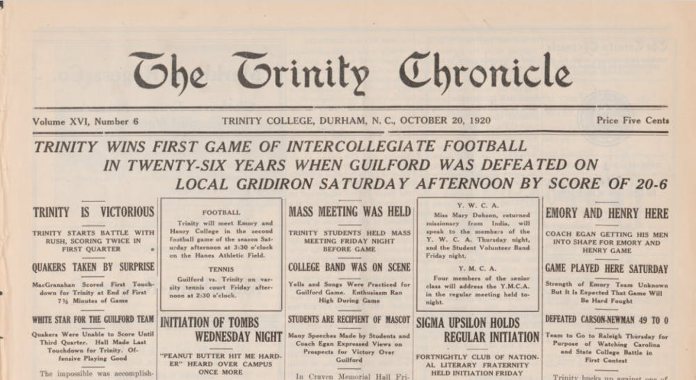 Duke had banned football from 1895 to 1920.