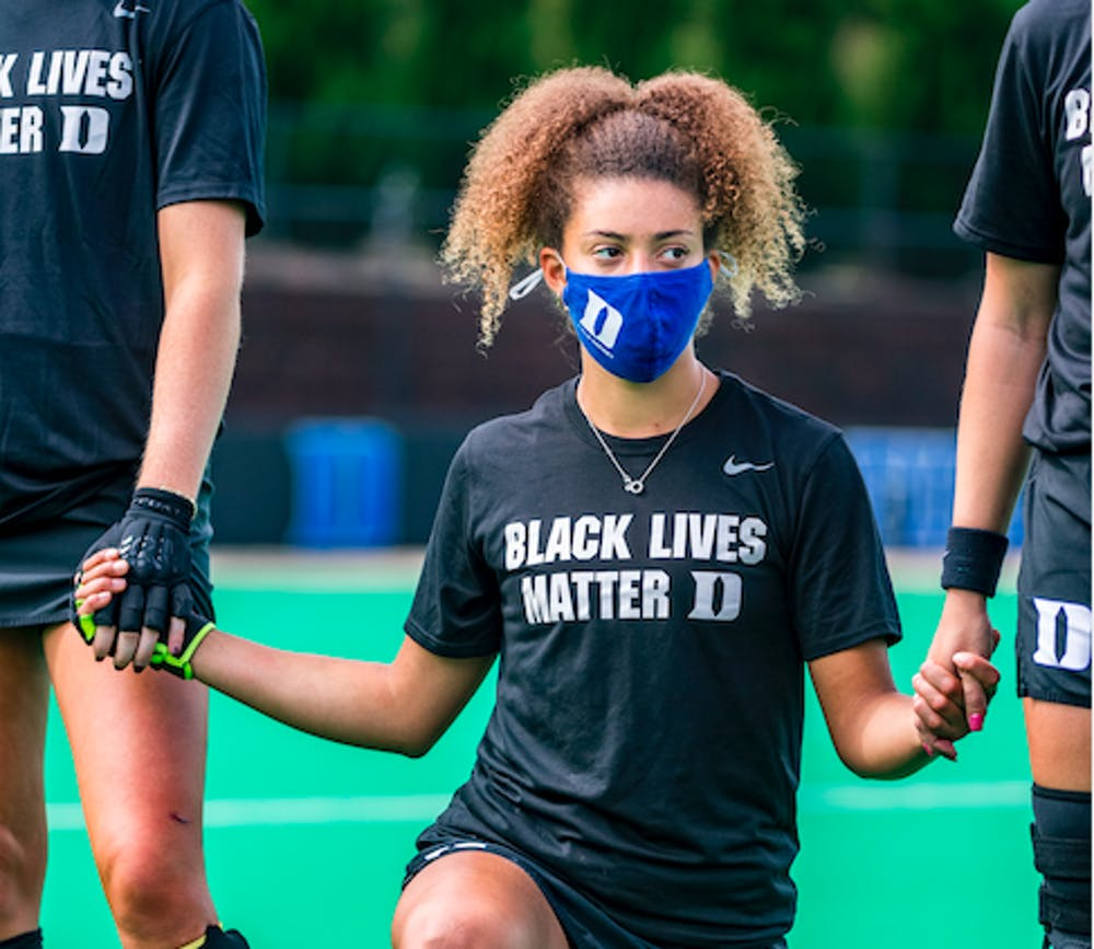 <p>Freshman Darcy Bourne has already had a huge impact on Duke field hockey, both on and off the pitch.</p>