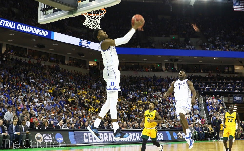 <p>R.J. Barrett led the way for Duke's offense with 26 points Friday night, and the freshman made it a double-double effort with 14 rebounds as well.</p>