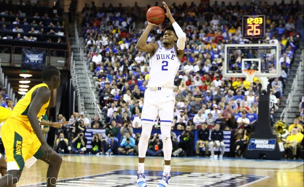 <p>Cam Reddish canned two of his first three tries from beyond the arc on his way to a stellar first half against Central Florida.</p>