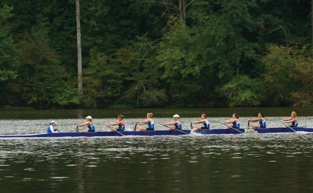 <p>The Blue Devils' top varsity eight boat shaved more than two minutes off its time from the Princeton Chase Sunday morning at the Rivanna Romp.</p>