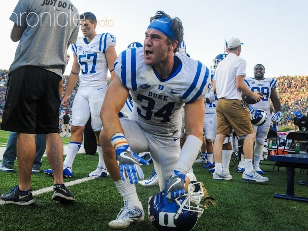Ben Humphreys (pictured) and Joe Giles-Harris will lead a strong Blue Devils linebacking corps this season.