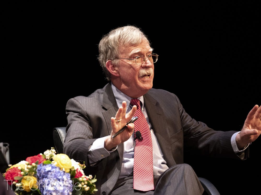 John Bolton talks at Duke on February 17, 2020