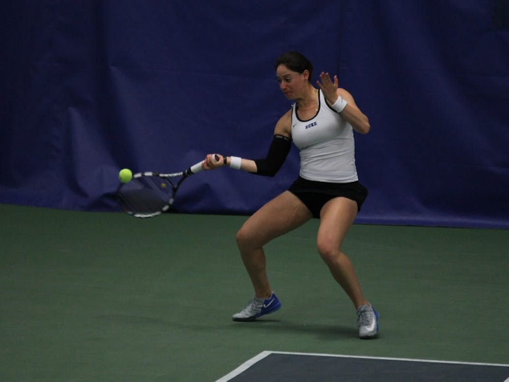 Rachel Kahan and the Blue Devils swept Pittsburgh 7-0 but fell 4-3 to Georgia Tech Sunday.