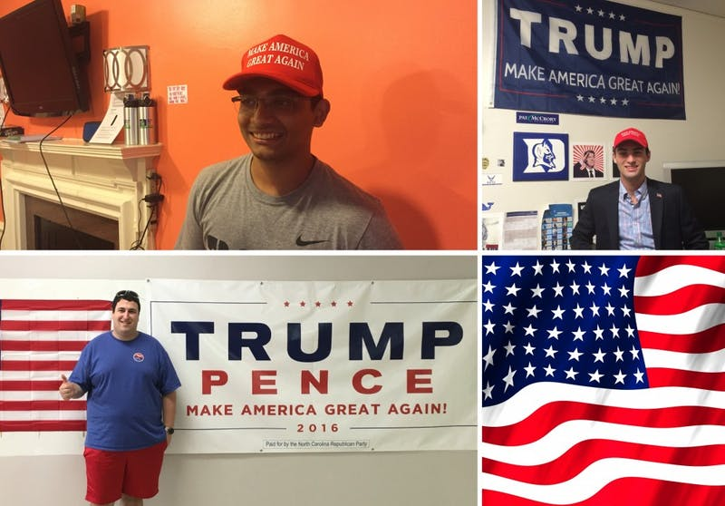 First-year Nikhil Sridhar (top left), first-year Mitchell Siegel (top right) andgrad school student Jackson Berger are among the students at Duke supporting Trump.